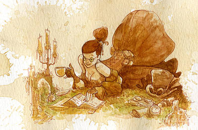 Steampunk Wall Art - Painting - Reading by Brian Kesinger
