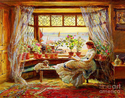 Reading By The Window Art Print by Charles James Lewis