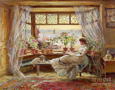 Puppies Painting - Reading By The Window by Charles James Lewis