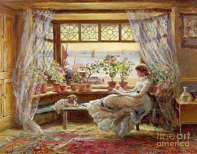 Reading By The Window Art Print by MotionAge Designs