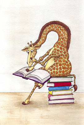 Reading Giraffe Art Print by Julia Collard