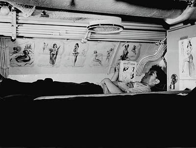 Photograph - Reading In Submarine Bunk 1943  by U S N A