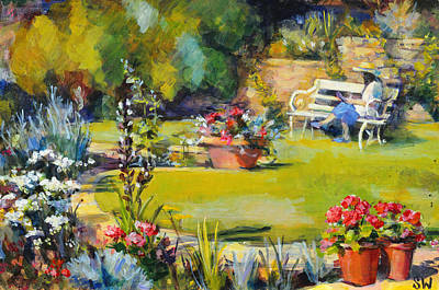 Reading In The Garden Art Print by Sue Wales