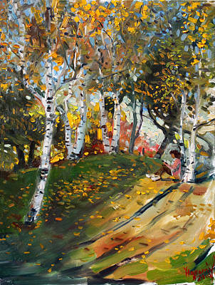 Birch Trees Painting - Reading In The Park  by Ylli Haruni