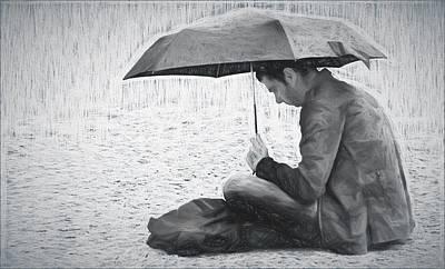 Reading In The Rain - Umbrella Art Print by Nikolyn McDonald