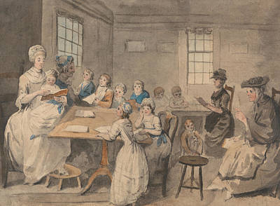 School Child Painting - Reading Lesson At A Dame School by Elias Martin