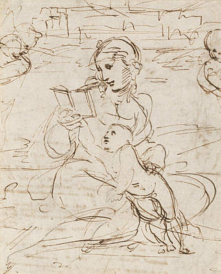 Cherub Drawing - Reading Madonna And Child In A Landscape Betweem Two Cherub Heads by Raphael