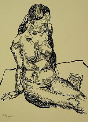 Reading Naked Woman Art Print by Vitali Komarov