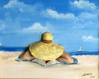 Reading On The Beach Art Print