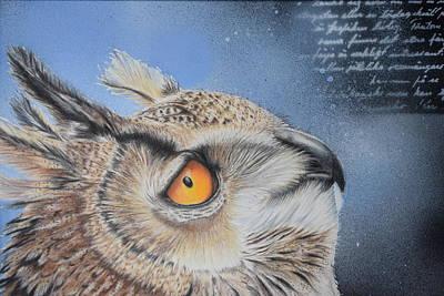 Uil Drawing - Reading Owl by Eveline Van Dooren