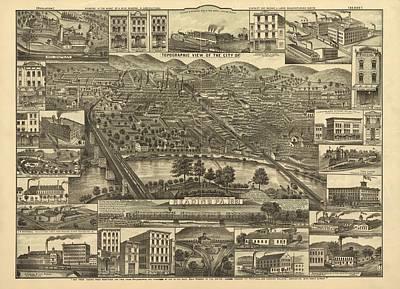 Reading Mixed Media - Reading Pennsylvania 1881 by Mountain Dreams