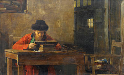 Painting - Reading Rabbi by Theodoros Rallis