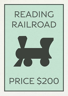 Monopoly Mixed Media - Reading Railroad Vintage Monopoly Board Game Theme Card by Design Turnpike