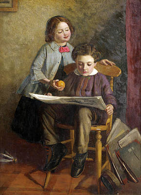 Painting - Reading The Illustrated London News by Attributed to John Dawson Watson