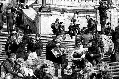 Photograph - Reading The Paper On The Spanish Steps by John Rizzuto