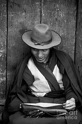 Photograph - Reading The Scriptures - Lhasa Tibet by Craig Lovell