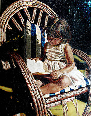 Bamboo Chair Painting - Reading Time by Claudia Lardizabal