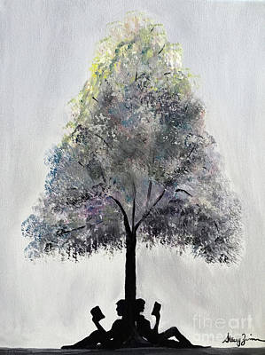 Painting - Reading Tree by Stacey Zimmerman