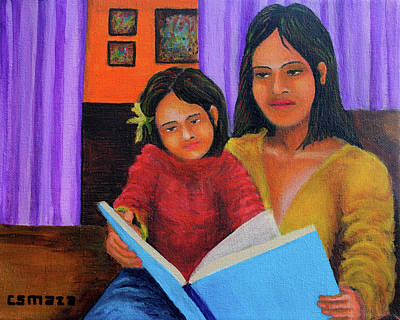 Reading With Mom Art Print by Cyril Maza