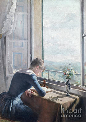 Reading Woman By The Window Art Print