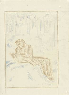 Mellow Yellow - Reading woman in a forest, Richard Roland Holst, 1878 - 1938 by Richard Roland Holst
