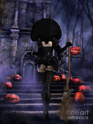 Witches Broom Digital Art - Ready Boys Halloween Witch by Shanina Conway
