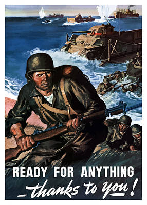 World War Two Painting - Ready For Anything - Thanks To You by War Is Hell Store