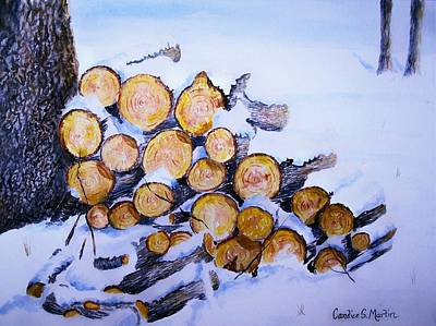 Woodpile Painting - Ready For The Fire by Candice Martin