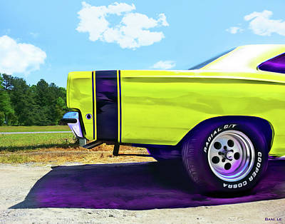 Muscle Car Painting - Ready Set Go by Little Bunny Sunshine