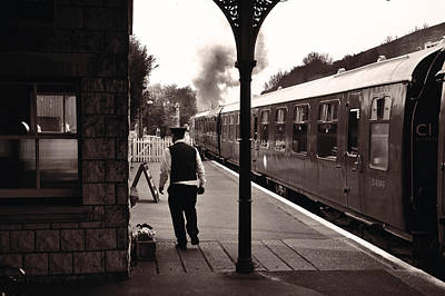 Photograph - Ready To Depart Corfe Castle Station by Nop Briex