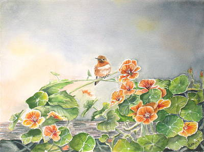 Nasturtiums Painting - Ready To Fly by Patricia Pushaw