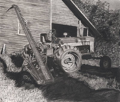 Old Barn Drawing - Ready To Mow by Bryan Baumeister