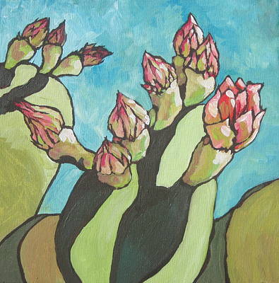 Prickly Pear Painting - Ready To Open by Sandy Tracey