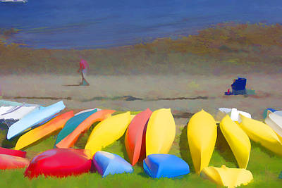 Canoe Digital Art - Ready To Paddle by Janet Leavesley