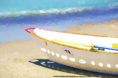 Row Boat Digital Art - Ready To Rescue  Lifeboat Watercolor by Scott Campbell