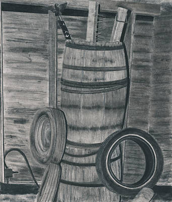 Old Barn Drawing - Ready To Use by Bryan Baumeister
