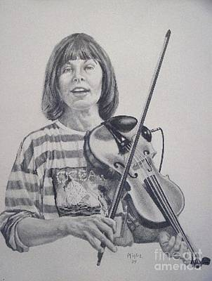 Violin Player Drawing - Ready by William Michel