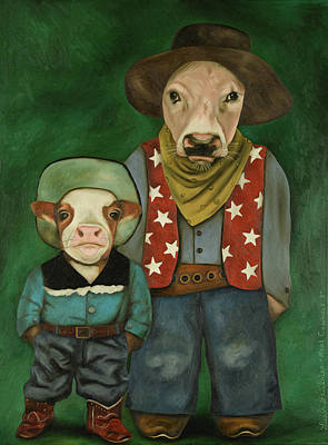 Art Print featuring the painting Real Cowboys 3 by Leah Saulnier The Painting Maniac