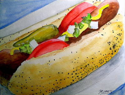 Painting - Real Deal Chicago Dog by Carol Grimes