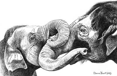 Drawing - Real Elephant Hug by Deanna Yildiz