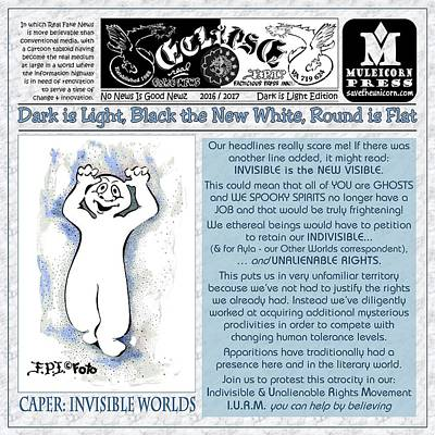Drawing - Real Fake News Invisible Worlds Correspondent by Dawn Sperry