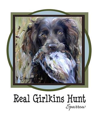 Boykin Spaniel Painting - Real Girlkins Hunt by Mary Sparrow