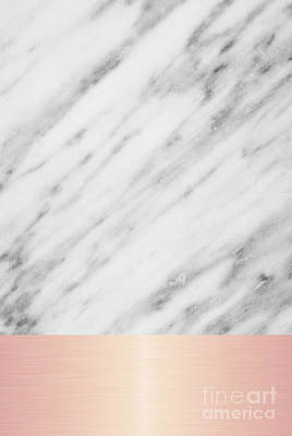 Carrara Marble Wall Art - Mixed Media - Real Italian Marble And Pink by Emanuela Carratoni