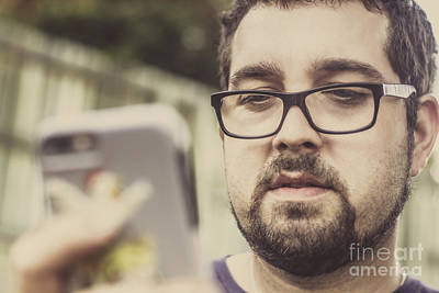 Real Life Photograph - Real Life Bearded Hipster Using Smart Phone by Jorgo Photography - Wall Art Gallery