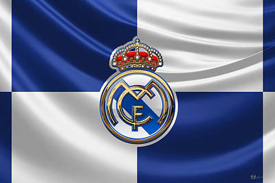 Real Madrid C F - 3 D Badge Over Flag Art Print by Serge Averbukh