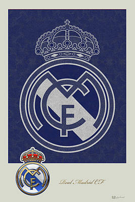 Digital Art - Real Madrid C F - 3 D Badge Over Vintage Logo by Serge Averbukh