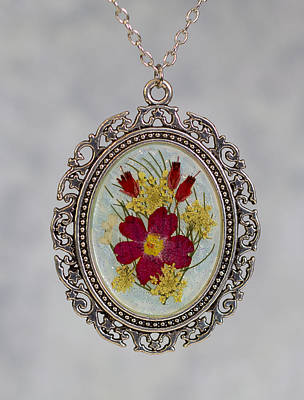 Jewelry - Real Pressed Verbena And Heather Blossoms by Em Witherspoon