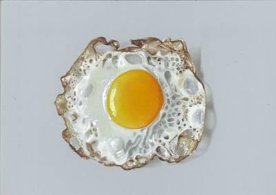 Realistic Drawing Half Fried Egg Original by Sushant S Rane