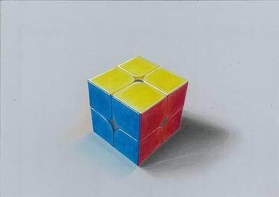 Realistic Drawing Of 2x2 Rubik's Cube Original by Sushant S Rane