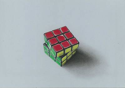 Painting - Realistic Drawing Of 3x3 Rubik's Cube by Sushant S Rane